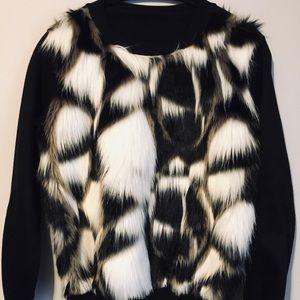 ZARA Multicolored Faux Fur Sweater  xs